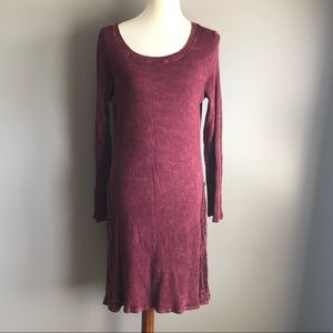 Able maroon distress washed thermal lace dress, M